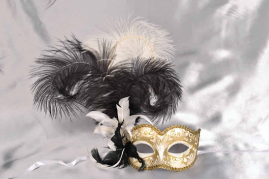 Ladies feathered ball mask - white