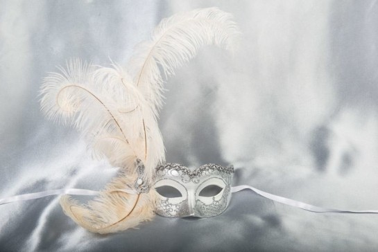 White and Silver Side Feather Mask
