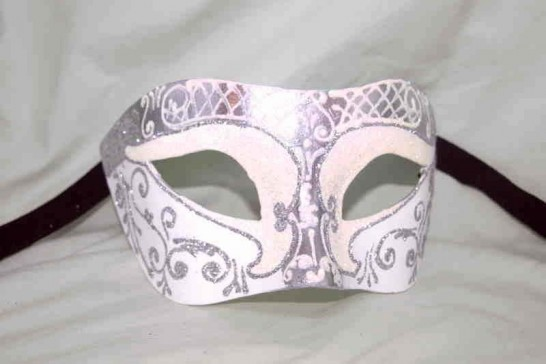 Unisex Colombina mask with glitter and silver trim in white