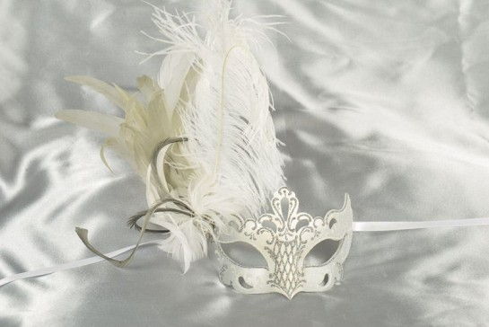 Paper Mache Venetian Mask with feathers in white and silver