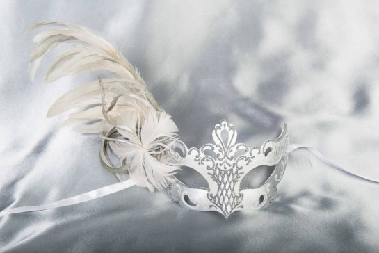 Luxury side feather Venetian masquerade mask in white