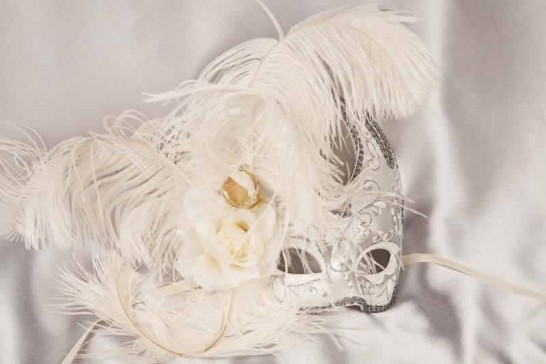 Silver Venetian Swan Masks with feathers in white