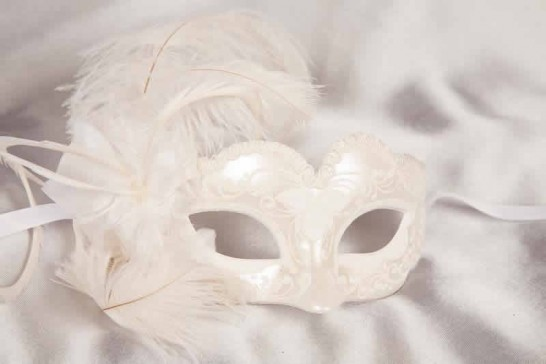childrens feather mask - Baby Armony white