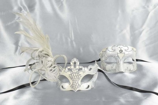 White Venetian masks for Couples - Tomboy Vanity Silver