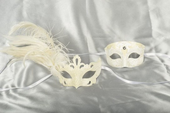 White Venetian masks for couples - Tomboy Vanity