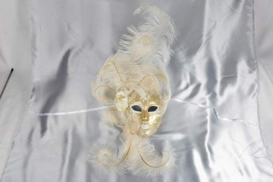 White and Gold full face wall mask with feather surround