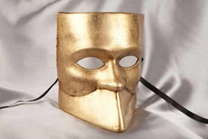 One colour Venetian Bauta Mask in Gold