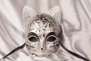 Gatto Fu Silver - Luxury Egyptian Cat Mask with Swarovski Crystals