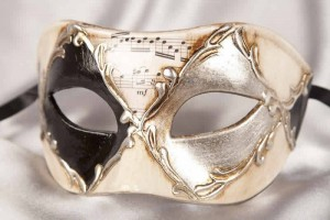 black and silver Harlequin Masquerade Masks