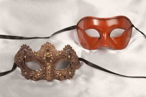 rust brown luxury lace masks for couple