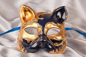 enetian cat mask with musical notes and gold leaf in blue