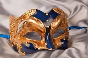 Blue Joker Face Masks with Musical Notes and Gold Leaf