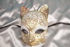 Gatto Fu Gold - Luxury Egyptian Cat Mask with Swarovski Crystals