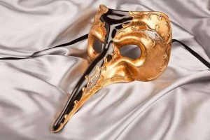 black and gold big nose masquerade mask