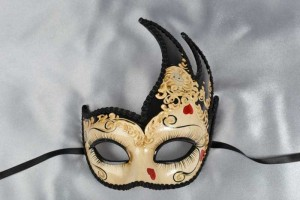 Black love hearts masquerade mask