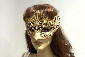 Aria baroque masquerade mask shown on female face