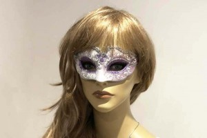 Small masquerade mask Baby Silver on female face