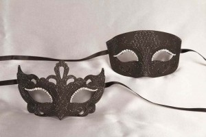 Black pair of paper mache Venetian masks - Tomboy Anna Strass