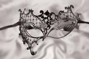 Phantom style filigree metal masquerade mask in black