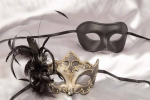 couples masks black gold