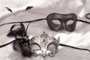 couples masks black silver