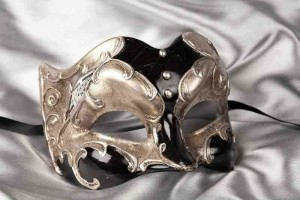 Black and silver half face Joker masquerade mask