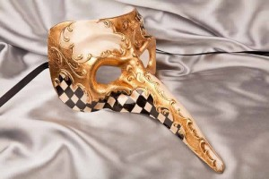 Black Venetian Nose Masks with Diamond Pattern