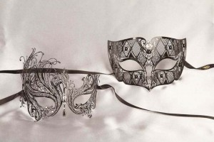 Pair of black filigree fretwork metal Venetian masks - Tomboy Leda