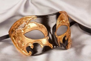 masquerade ball mask Larga Gold black