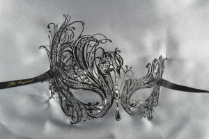 Luxury black metal mask for masked ball - Leda