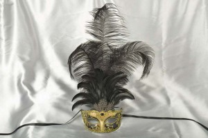 Luxury tall feather masquerade mask in black and gold