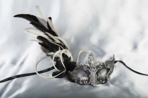 Luxury side feather Venetian masquerade mask in black