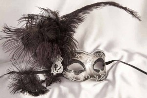 Black and Silver Side Feather Mask