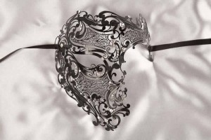 black full face Phantom style Venetian mask