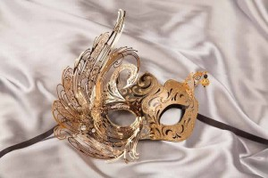 black gold luxury Venetian mask with metal lace