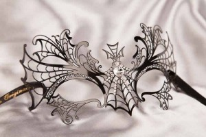 Spiders web lace mask in black