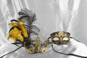 Black Venetian masks for Couples Tomboy Vanity Gold