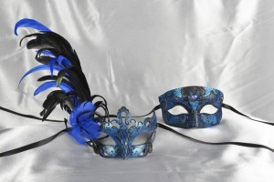 Blue and Black matching Venetian masks with feathers - Tomboy Vanity