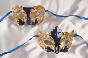 blue and gold pair of masks