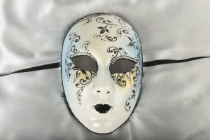 Volto Crystal - Blue and Black Full Face Venetian Mask