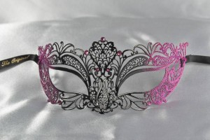 Filigree metal lace ball mask in cerise pink and black