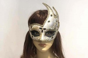 swan carnival masquerade mask on female face