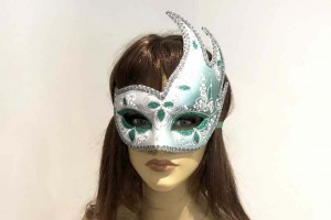 swan carnival mask for masked ball on female face