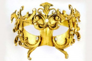 Colombina Barocco Fuoco Gold - Luxury Half Face Masquerade Masks for Men