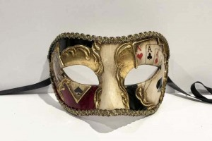 Poker decorated colombina larga masquerade mask