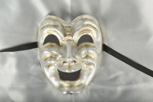 Silver Leaf Comedy Laughing Venetian Mask