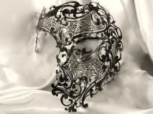 Black Fantasma Dell Opera - King or Queen Budget Filigree Metal Venetian Mask