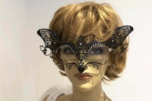 Cat mask for glasses wearers attached to womans spectacles