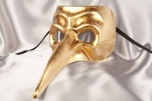 Gold One Colour Venetian Nose Masks for Men