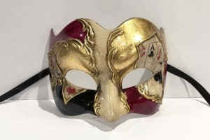 Poker decorated Joker masquerade mask